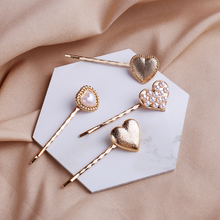 3pcs/set Gold Pearl Hair Clips Bobby Pins Wild Fashion Styling Tools Metal Love Clips Girls Hair Jewelry Barrette Pearl 5.8CM