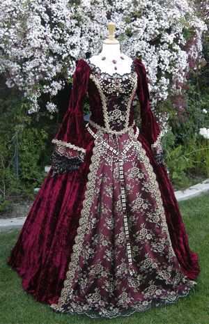 Gothic Renaissance or Medieval Queen Fantasy Set Custom Burgundy Dresses 0f3ff7a2c655