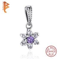 Original 925 Silver Sterling Jewelry DIY Sparkling Purple Crystal Snowflake Flower Charms Beads Fit Bracelet Pendant