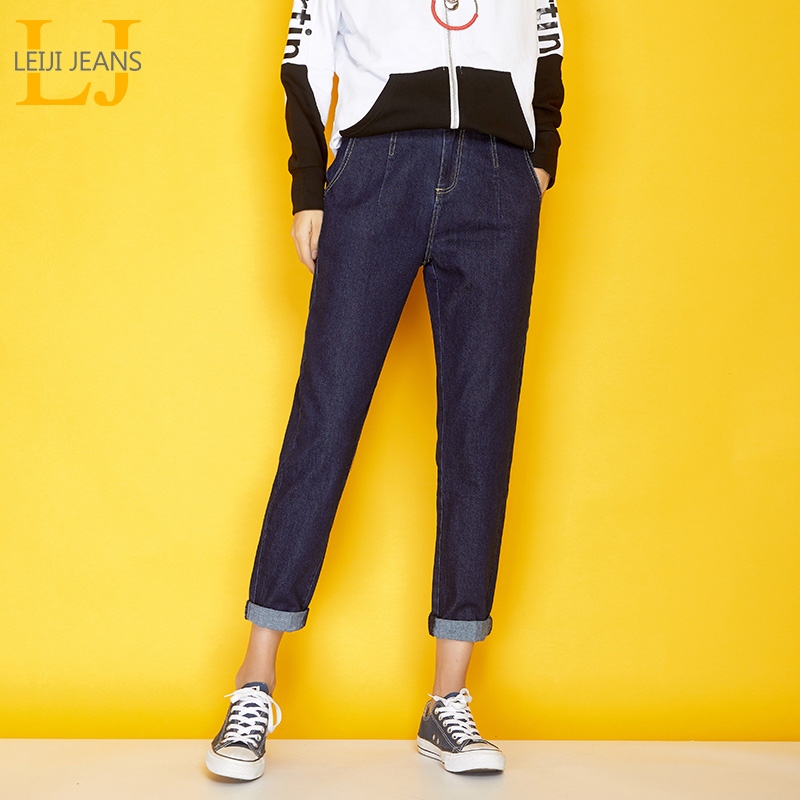 LEIJIJEANS New Autumn Casual Style Plus Size L-6XL Dark Blue Denim Classic Mid Waist Full Length Loose Harem Jeans Women 7288