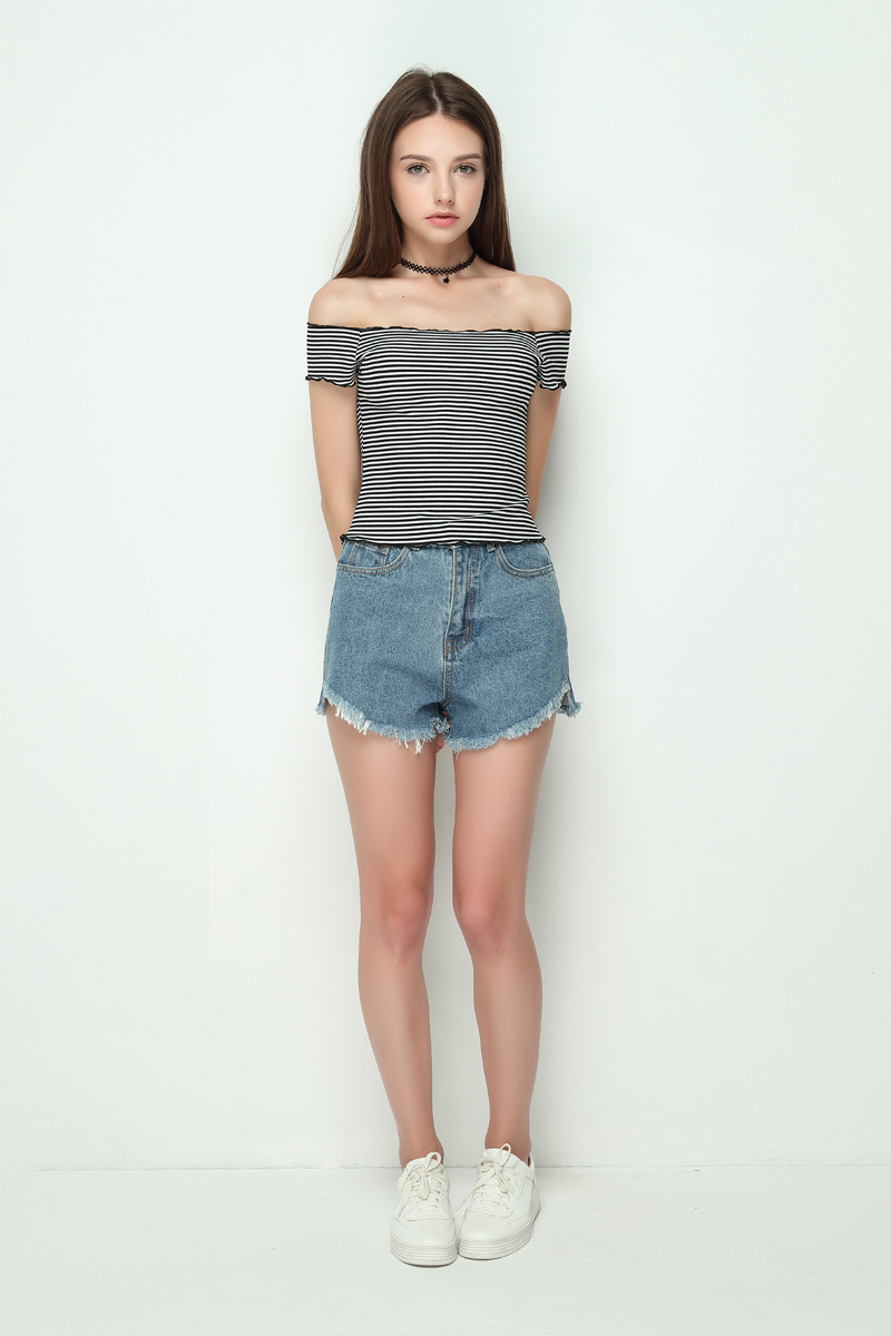 HTB1.2NxRVXXXXXhapXXq6xXFXXXF - Striped Knitted Off Shoulder Slash Neck Short Sleeve T Shirt PTC 27