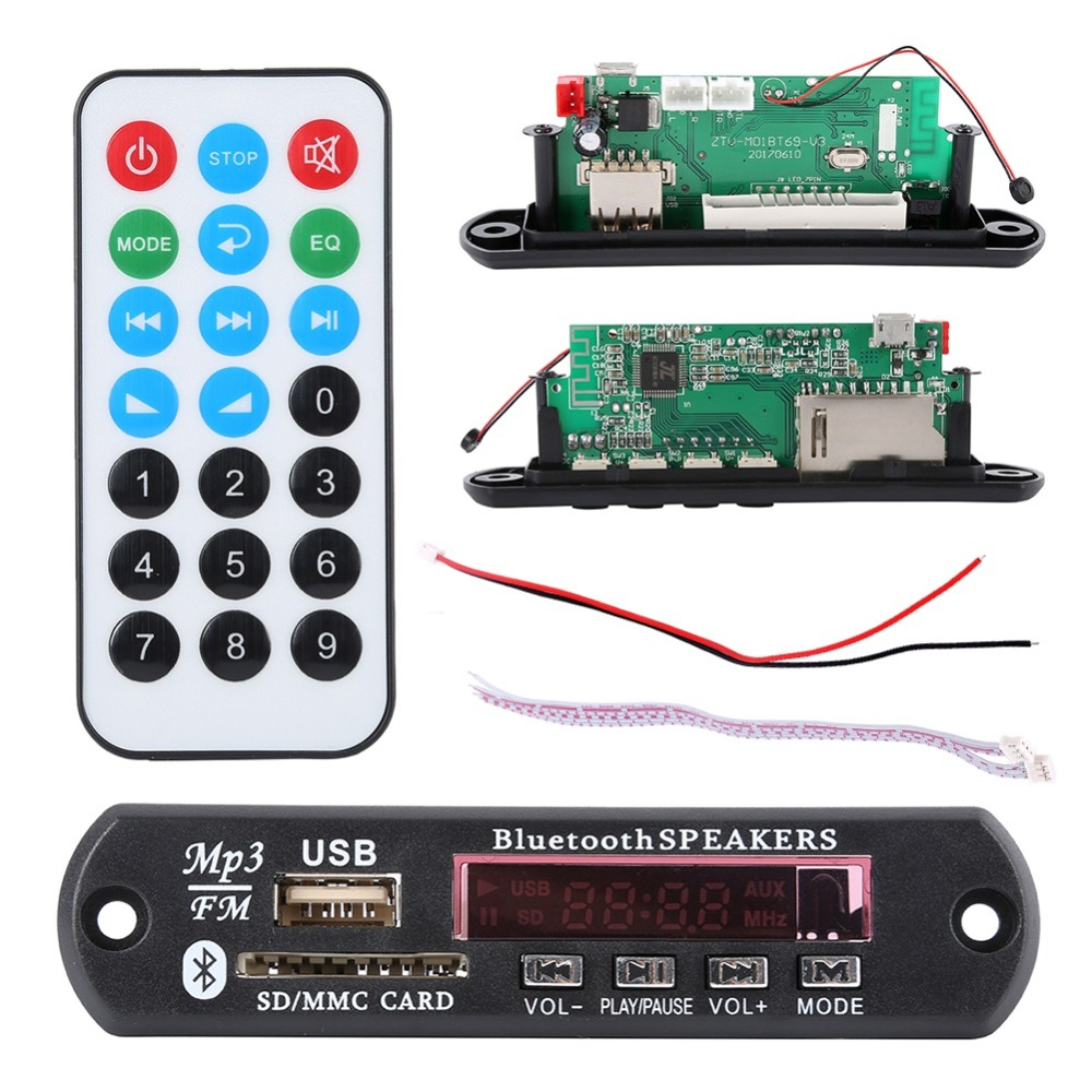 EDAL 12V USB Bluetooth 4.2 MP3 decoder board module w/SD card slot/USB/FM/remote decoding board module джемперы acoola джемпер для девочек в полоску цвет красный размер 164 20210100170