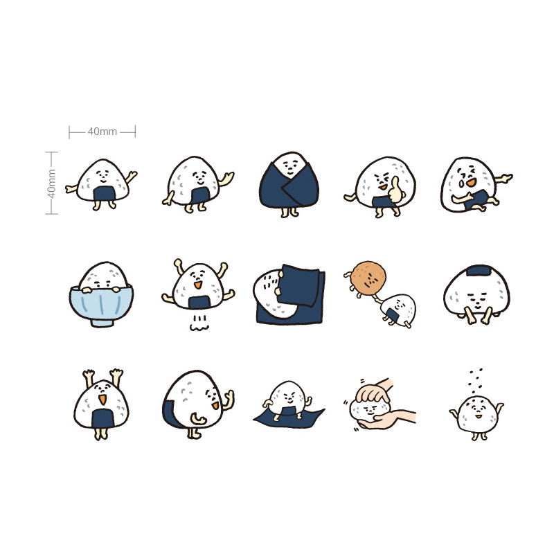 Купить с кэшбэком 45pcs/lot Creative Rice ball DIY sealing stickers decorate diary hand account Scrapbooking Stationery kawaii label stickers
