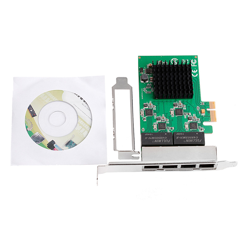 HOT 10/100/1000M PCI-E PCI Express to 4x Gigabit Card 4 Port Ethernet Network Adapter pci express 4 port 1gbps gigabit ethernet network card pci e to rj45 lan adapter converter with low profile bracket