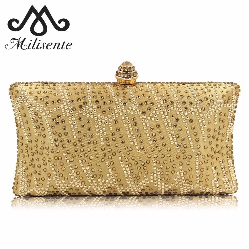 Milisente New Diamond Women Clutches Ladies Evening Bags Girl Party Wedding Purse Noble Royal Blue Clutch Bag With Chain