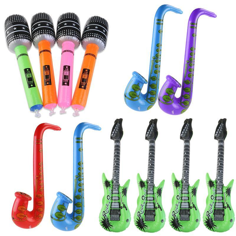 Inflatable Tool Inflatable Guitar Saxophone Microphone Music Children Toys Balloons Part Decoration (Random Color)