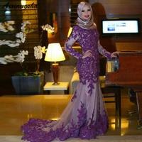 Purple Sleeve Evening 2019 Long Mermaid Dresses High Neck Long Train Dubai Abaya Kaftan Robe de Soiree Lace Appliques