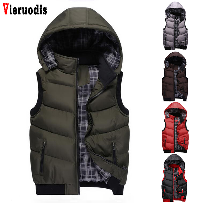 High Quality Winter New Warm Sleeveless Jackets Hooded Vest Men Hat Detachable Mens Casual Male Vest Coat Homme Plus Size M-5XL
