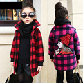 NEW Girls Fall and Winter Clothes Wool Cardigan Collar Windbreaker Children Personality Plaid Woolen Coat Kids Clothing 3 Colour