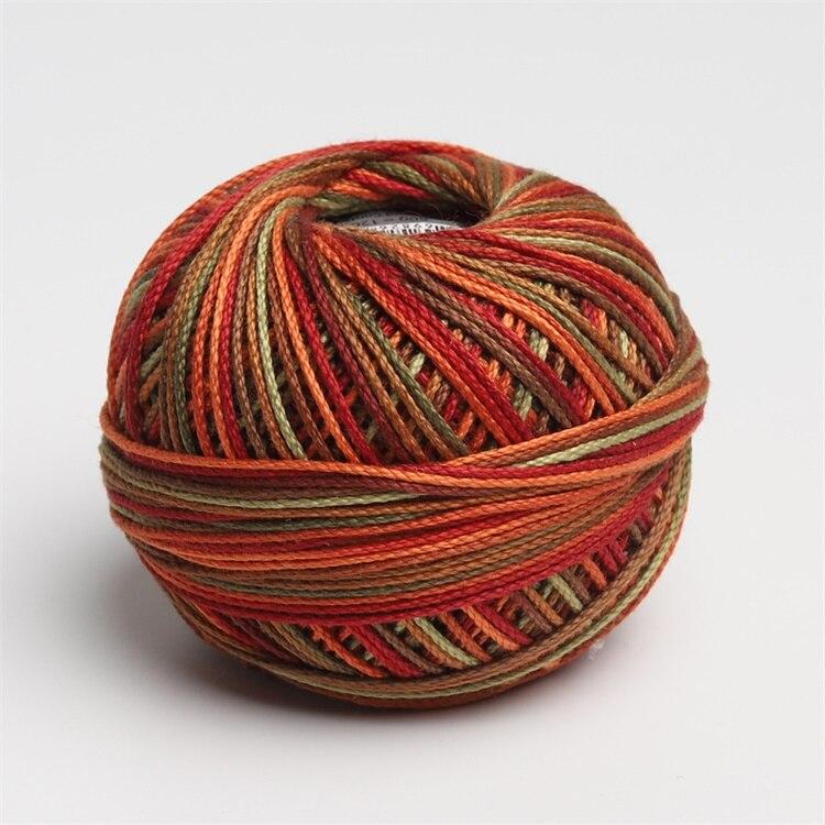 Размер 3 хлопок жемчуг пестрый 50 грамм мяч египетская длинноштапельная хлопковая пряжа газированная двойная мерсеризованная 6 нитей плетение - Цвет: 136