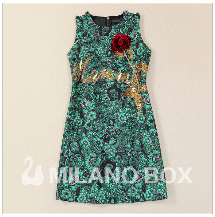 New dress Sicily style heavy beaded embroidery Sequin rose exquisite diamond clasp jacquard cotton vest