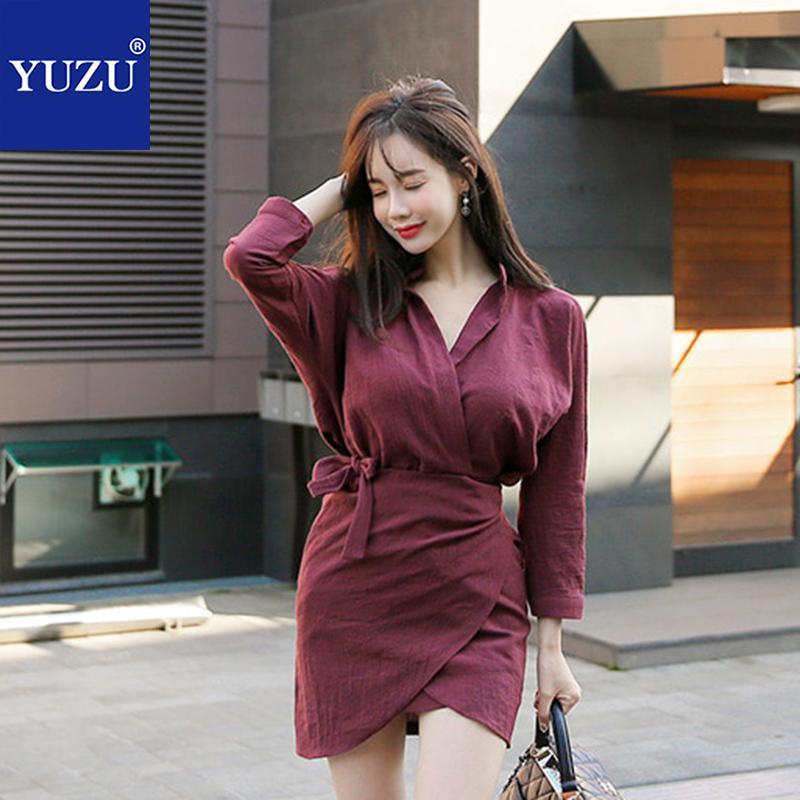 Wine Red Shirt Wrap Dress Vintage Office Lady Korean V Neck Pencil Solid Long Sleeve 2018 Autumn Women Fashion Mini Dresses