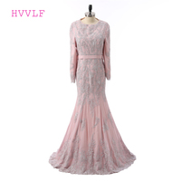 9c513230aad71 Pink Muslim Evening Dresses 2019 Mermaid Long Sleeves Appliques Lace Islamic  Dubai Kaftan Scarf Saudi Arabic