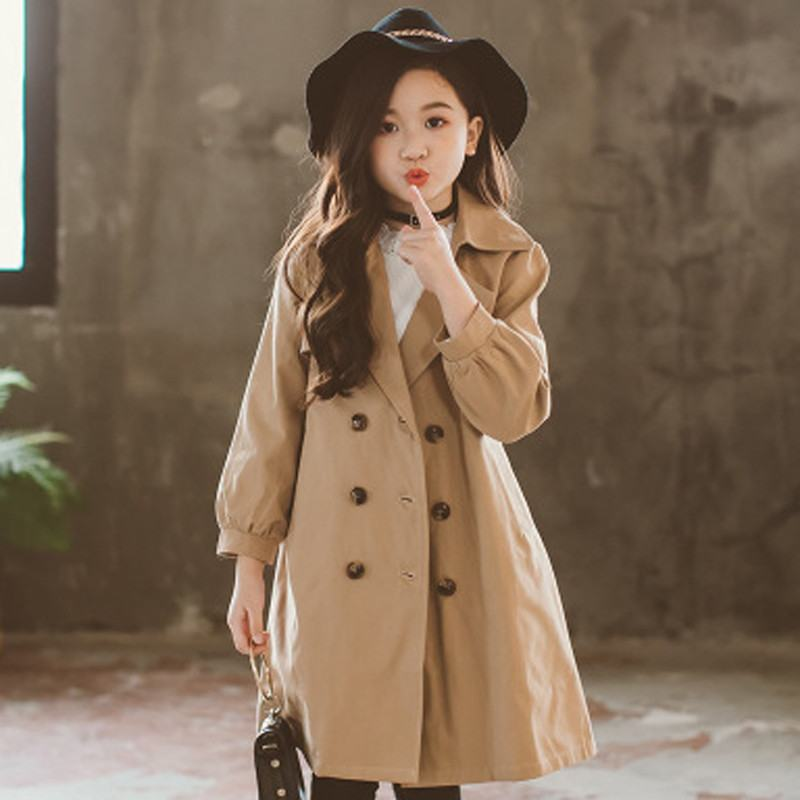 2019 New Spring Autumn Children Girls Cotton Clothes Outwear Baby Girl Solid Double Breasted Trench Coat