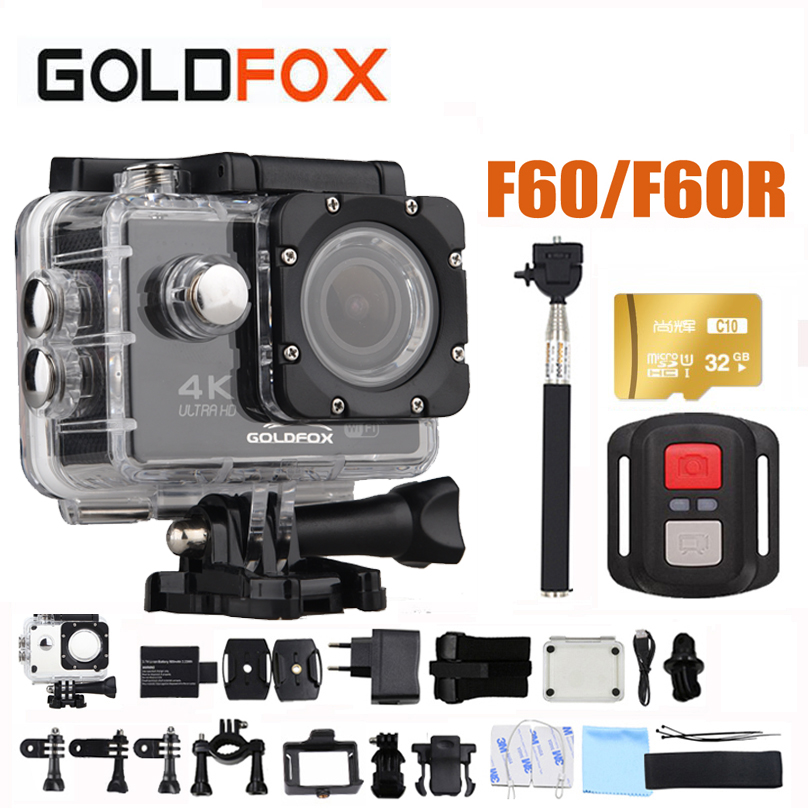 GOLDFOX F60/F60R 4K WIFI Action Camera Ultra HD 1080P Sports Camera Go Waterproof pro DV Camcorder 16MP 170 Degree Wide Angle ultra hd 4k action camera wifi camcorders 16mp 170 go cam 4 k deportiva 2 inch f60 waterproof sport camera pro 1080p 60fps cam