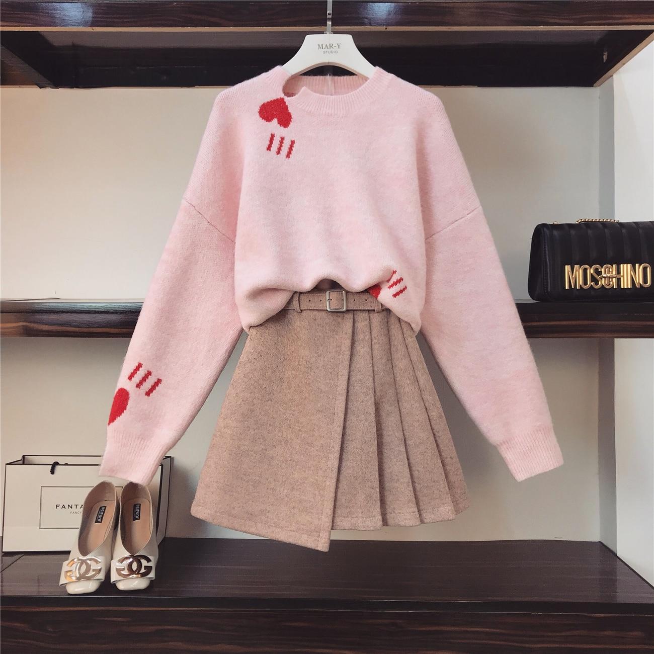 Nuovo Studenti Set Inverno 2018 Pink Irregolare Alle Maglia Corte Colore Maglione Lavoro Maniche Lunghe Di O Collo Si A Rosa Donne Modo Adatta Gonne Autunno Delle dpxxq1tAw