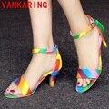 VANKARING sapatos mulher verão 2016 sandálias da moda sapatos de salto alto de boa qualidade partido cor misturada sapatos mulher sexy sapatos baratos