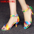 VANKARING shoes 2016 summer woman fashion sandals high heels good quality shoes mixed color party shoes woman cheap sexy shoes