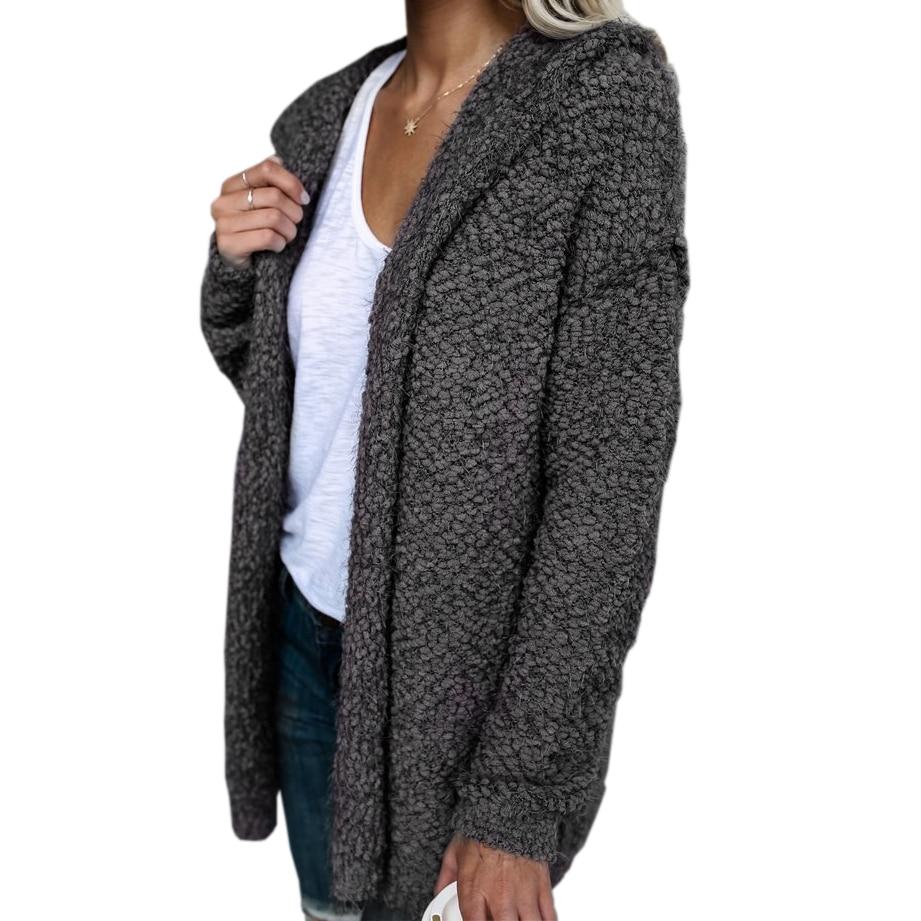 Long Sleeve Knit Fuzzy Hooded Women Sweaters 2017 Autumn Winter ...