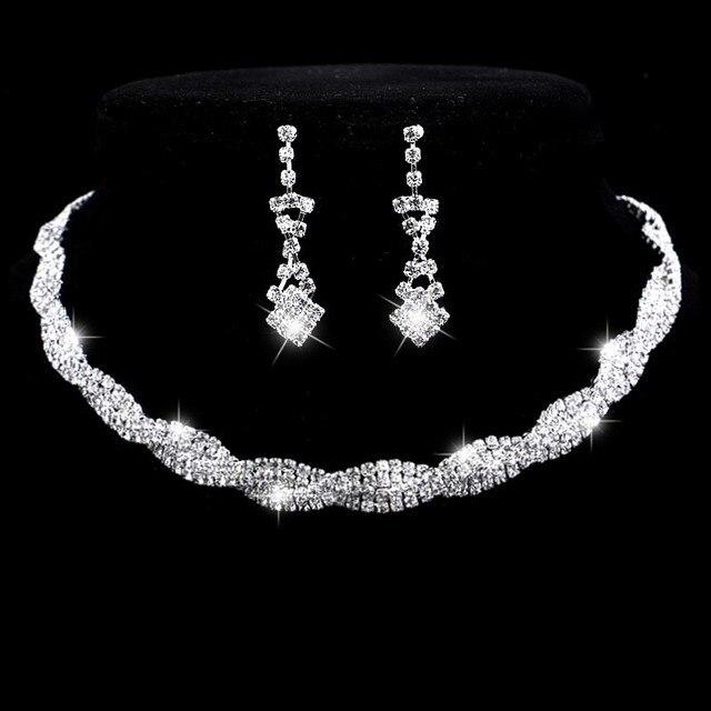 Fashion Wedding Jewelry Set Sparkling Rhinestone Crystal Choker Necklace Earrings Set Charm Silver Plated Bridal Jewelry Sets
