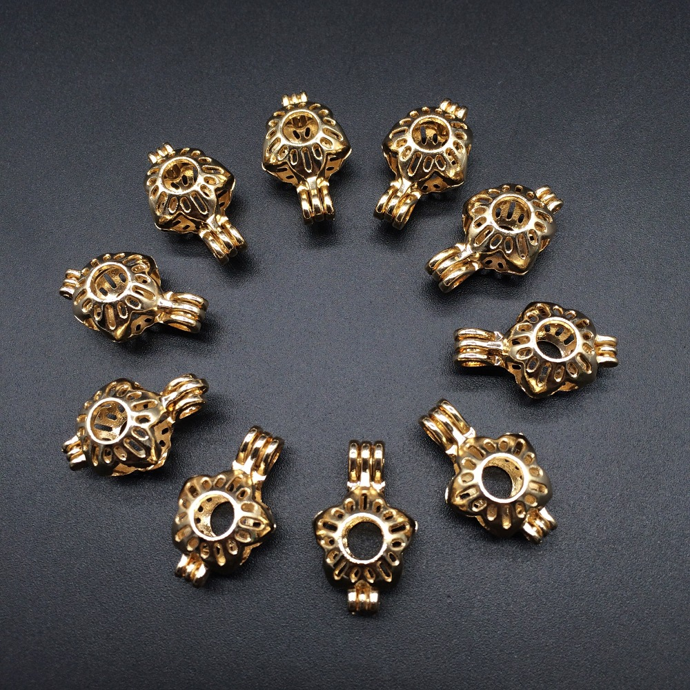 10pcs Gold Color Hollow Flower Design Jewelry Making Supplies
