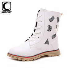 2016 Winter New Kids Boots Girls Martin Boots PU Leather Plush Warm Ankle Shoes Children Motorcycle Snow Boots White/Black/Red
