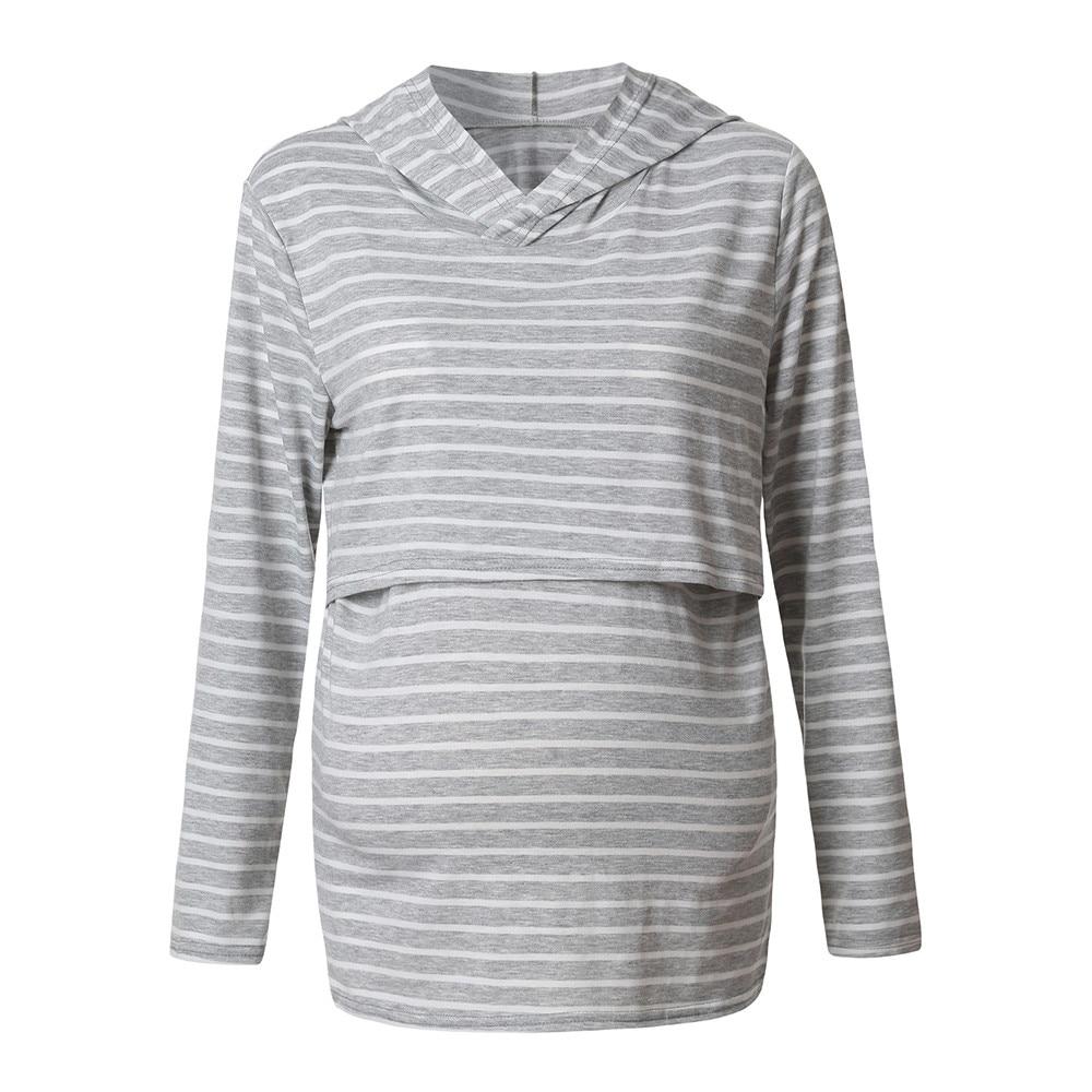 2018 Fashion stripe Tops Maternity Clothing Women's Nursing Hoodie Long Sleeves Striped Tops Breastfeeding Hoodie Sweatshirt