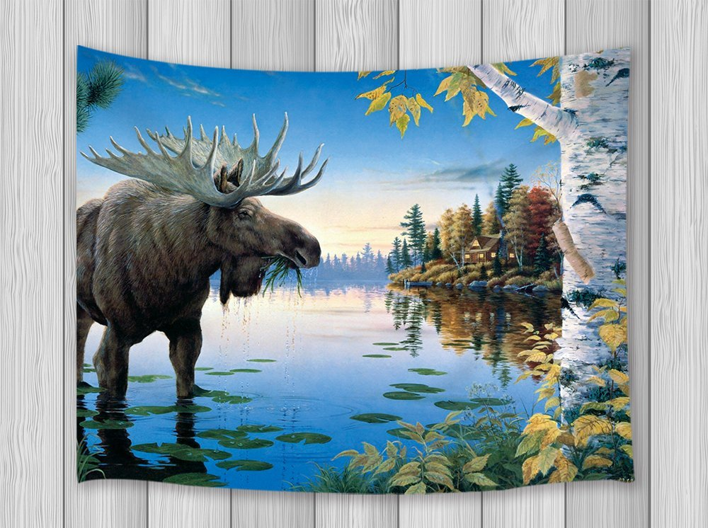 Animal Decor Tapestry Moose In Auntumn Fall Forest Lake