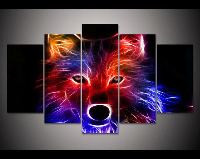 HD Imprimer 5 Pièces Couleur Loup Toile Mur Art Impression Peinture Toile  Moderne Décor à La