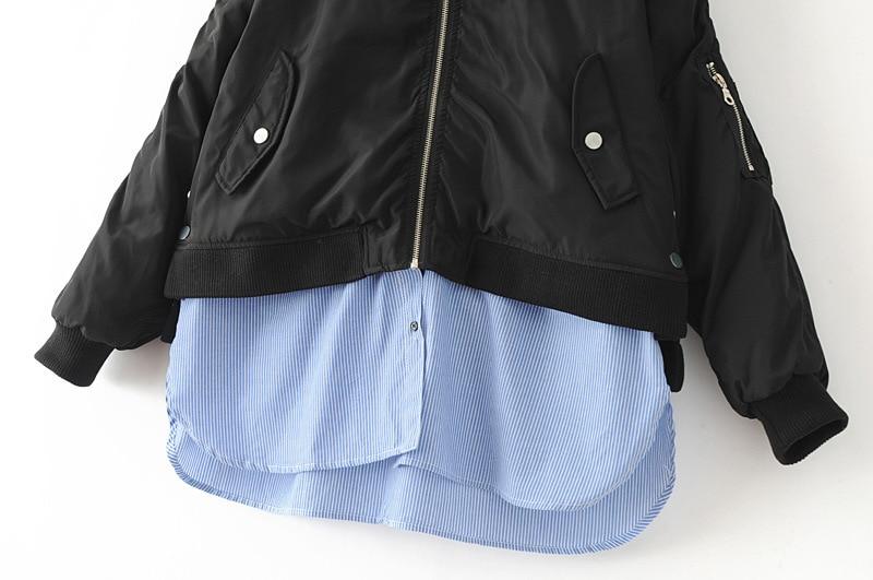 Veste De Hiver Blouse Nouveau Bomber Mince Pièce Coupe Femmes Manteau Femme vent Avec 2 Chaud 2018 Bo Parka Nu Noir xeWdrBCQo
