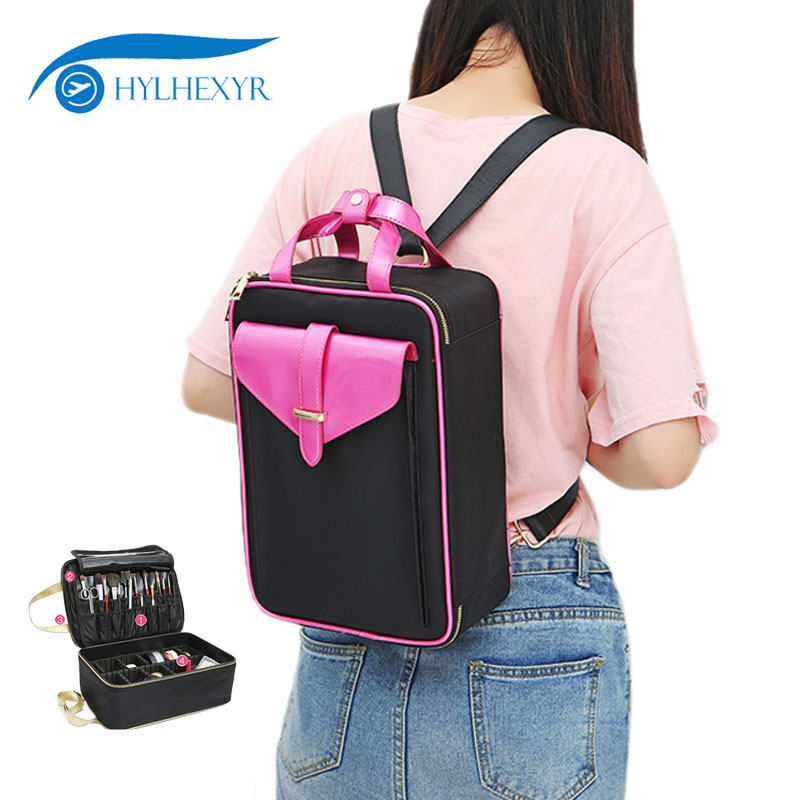 Hylhexyr Makeup Box Professional Portable Totes Shoulder Bag Cosmetic Case Toiletry Backpack Cosmetics Adjustable Dividers
