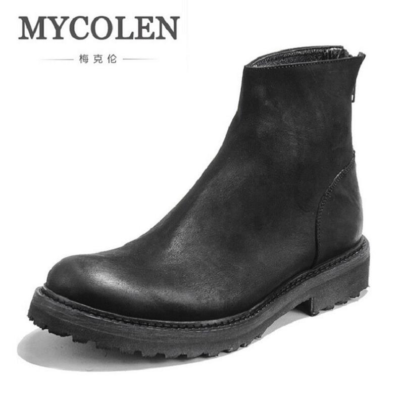 MYCOLEN Winter Leather Dress Boots Fashion Non-Slip Men Ankle Boots British Style Luxury Brand Chelsea Boots Sapato Masculino mycolen 2017 fashion winter men boots british style working safety boots casual winter men shoes male black leather ankle boots