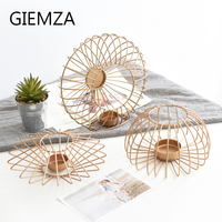 GIEMZA Gold Iron Decoration Living Room Cabinet Soft Decoration Ornaments Shop Table Modern Metal Candlestick Room