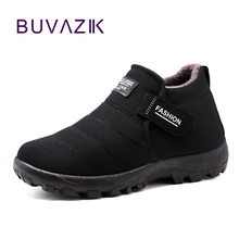 BUVAZIK 2018 winter keep warm cotton fabric shoes men soft and comfortable men casual shoes winter loafers warm black shoes