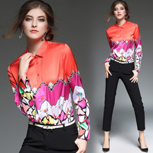 High Quality Women Floral Print Polo Blouse Cardigan Tops Blouse Female 2017 Summer OL Women's CHIFFON Silk Blouse Shirts JA2506