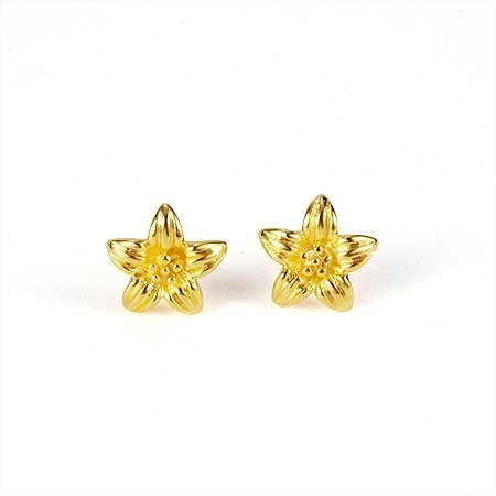 Whole Quality Women S Flower Style 24k Yellow Gold Plated Stud Earrings