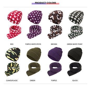 URDIAMOND Winter Scarf Hat Set Children's Two-piece Fashion Cute Warm Cotton Dot Beanie Outdoors