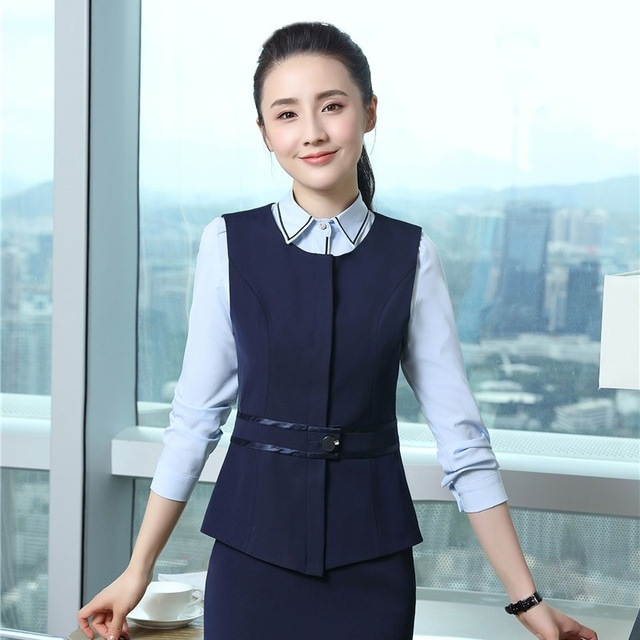 Spring Fall Elegant Navy Blue Formal OL Styles Waistcoat   Vest Coat For  Women Business Work Wear Jackets Tops Female Blazers 52a2687c46e