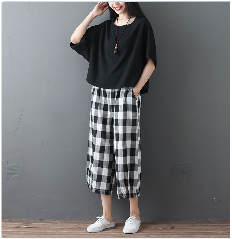 2019 Cotton Linen Two Piece Sets Women Plus Size Half Sleeve Tops And Wide Leg Cropped Pants Casual Vintage Women's Sets Suits 66