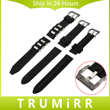 22mm 24mm Silicone Rubber Watchband 316L Carved Stainless Metal Buckle Strap Males Ladies Common Watch Band Wrist Belt Bracelet