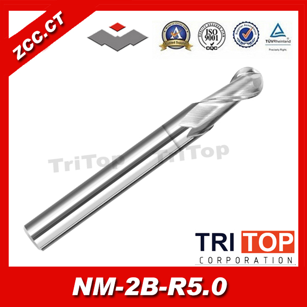 ZCC.CT NM-2B-R5.0 2-flute ball nose end mills with straight shank original solid carbide milling cutter 68hrc zcc ct hm hmx 2b r10 0 2 flute ball nose end mills with straight shank