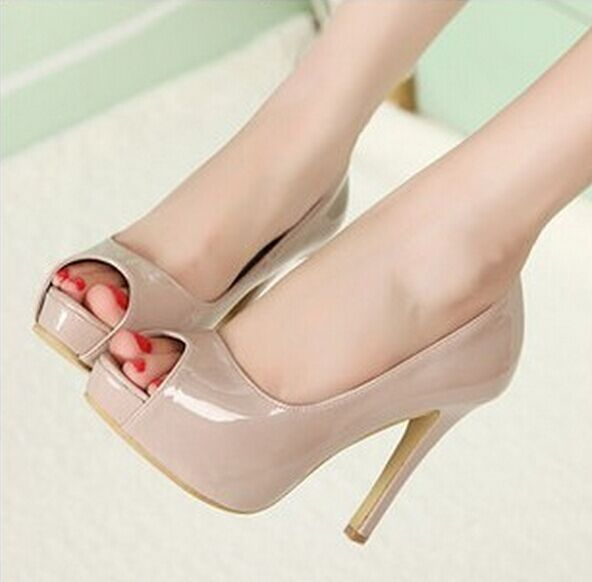 Nude pumps high heels thin heels platform high heels pumps princess fashion thin heels japanned leather