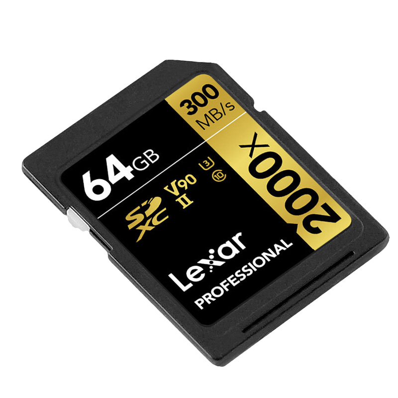 Image 2 - Original Lexar 300MB/s 64GB Memory SD Card Professional 2000x SDXC UHS II U3 Class 10 Flash Cards For 3D 4K Digital DSLR Camera-in Memory Cards from Computer & Office
