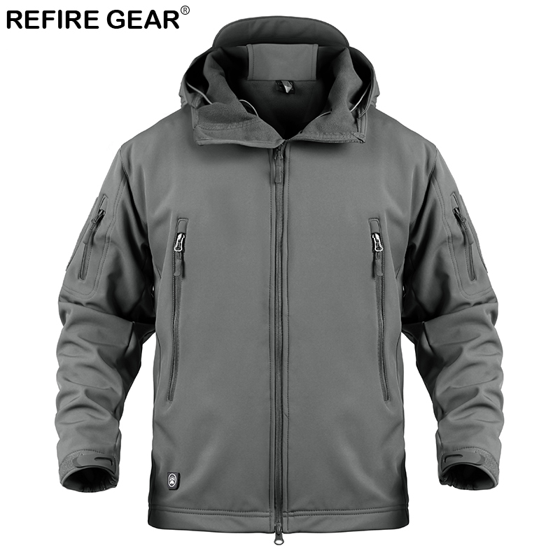 Refire Gear Soft Shell Outdoor Windbreaker Jacket Men Winter Waterproof Hiking Jacket Coat Male Hoody Windproof Fleece Jacket