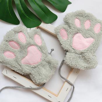 Zima śliczne kot łapa bez palców puszyste rękawiczki damskie japoński Kawaii niedźwiedź pluszowe ciepłe pół palca klawiatura dziewczyna pary rękawiczki tanie i dobre opinie Himifashion CN (pochodzenie) Legginsy anime Unisex Adult Akcesoria POLIESTER lolita CHINA HMG1541219 kostiumy