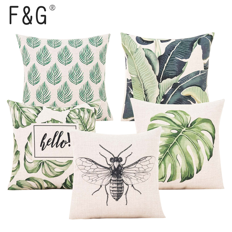 Green Leaf Cushion Cover Botanical Tropical Palm Tree Leave Geomtric Beige Pillow Cover Bedroom Sofa Home Decor Throw Pillowcase(China)