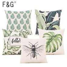 Verde funda de cojín hojas botánica Tropical palmera dejar geométrica Beige funda de almohada dormitorio sofá decoración del hogar funda de almohada