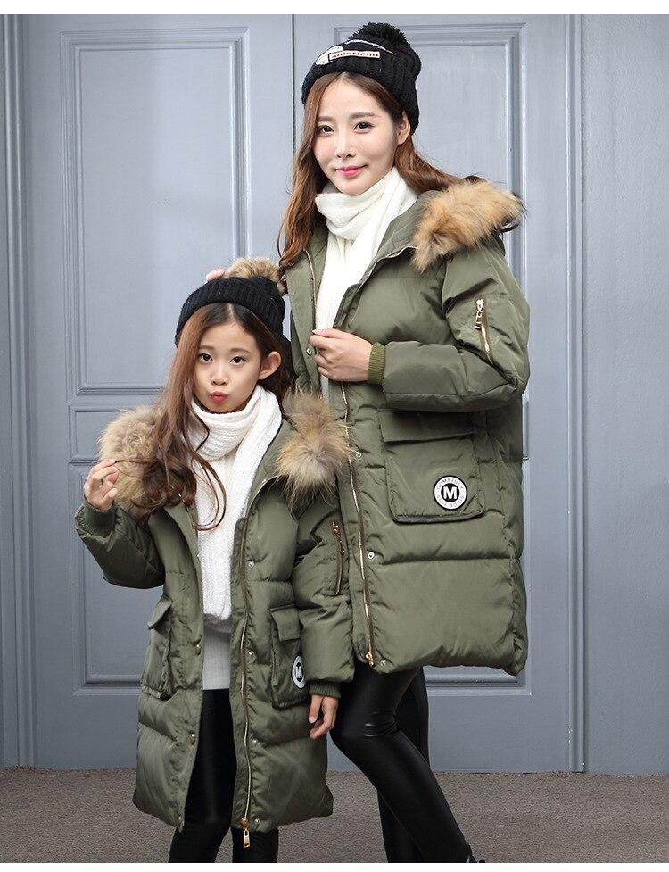 зима девушки куртки/пальто детские вниз пальто с натуральным мехом девушки/мама толстая утка вниз теплая куртка outerwears куртки