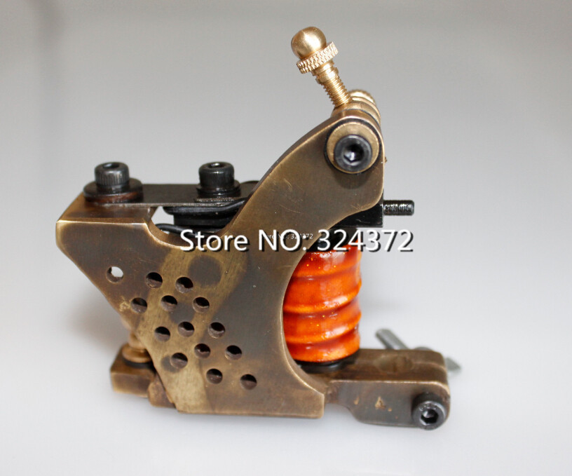 ФОТО 2pcs free shipping by china post professional brass wire 10 wraps shader manual handmade Cast brass frame Tattoo Machine Gun