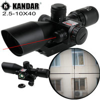 KANDAR 2.5 10X40 Red Illuminate Compact Tactical Hunting Rifle Scope Red Laser Scope Hunting Trail Tactical 11mm / 20mm Moount